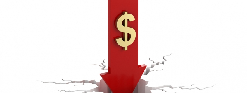 red arrow pointing down with dollar sign cracking the ground to represent depreciation