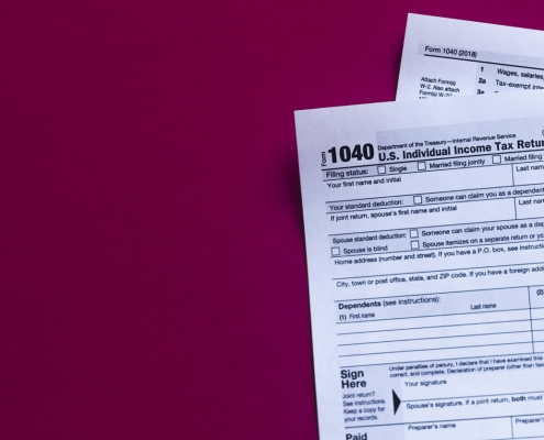 photograph of tax form 1040